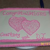 Wedding Shower Cake this is a yellow cake w/ buttercream icing...cornelli lace in hearts ( 1st attempt )