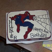 Spiderman This was a birthday cake done for my friends little boys 4th b-day. spidey was free handed from a coloring book cover. Yellow cake with...