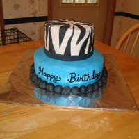 Zebra And Turquoise 2 Tier Birthday Cake Buttercream with fondant accents