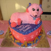Pink Poodle In Paris 3D Birthday Cake   Used the lamb 3d cake pan and added a longer fondant nose :)