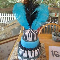 Sweet 16 3 Tiered Zebra And Turquoise