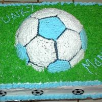 Soccer Cake Did this cake for my granddaughters end of season soccer party. Had problems witht getting smooth icing so I ended up doing the whole top...