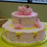 "Cotton_Candy_Baby This is a buttercream iced 14"" & 9"" Diam cake. The bears were piped using tips 5 (body), and 3 (the rest). For the topper, I..."