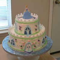 Cinderella Castle Theme I saw a picture of a cake castle on the internet and thought to use the idea for a 4-yr old's birthday cake with a Cenderella theme....