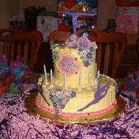 "Gymnastics_Beauty This cake was specially made for a 6-year old Gymnastics Beauty Princess. It is a buttercream 12"" and 3 x 8"" diam cakes. The..."