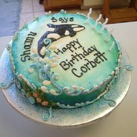 Shamu Theme Cake This Shamu theme cake is buttercream iced with royal icing waves and underwater kelp with flowers. The cake was airbrushed and glistened...