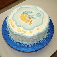 Baby Boy Moon Theme This is a buttercream cake with a chocopan plaque (I chose chocopan because it does not harder completely and remains a little flexible,...