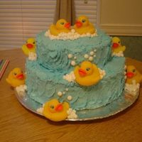 Rubber Ducky Cake Used buttercream frosting for water and bubble accents, then real rubber duckies!!