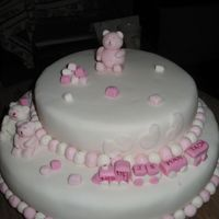 "Baby Girl My first ""official cake"". All fondant."