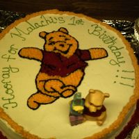 Winnie The Pooh this was a chocolate cake with b/c. I had to free hand winnie.
