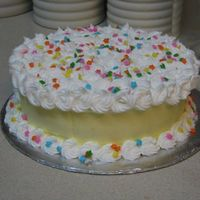 Practice Cake  This was just for practice/fun. We learned the rosette in class and I was inspired by a cake in the course II book. The top was a ton of...