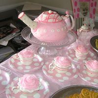 Teapot Cake And Teacup Cupcakes i made this cake and cupcakes for my friend's little girl's first birthday. there are things i would do differently but overall i...