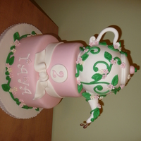 Teapot Cake  This is a teapot cake I made for a little girl's garden teaparty birthday..the invitations etc..had little cream and pink flowers and...