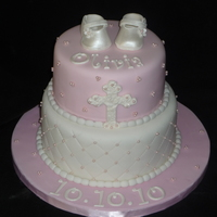 Christening Cake Chrstening cake for a baby girl..they wanted it white and pink with a cross on it and other than that they didn't not mind what I did...