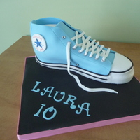 "Turquoise High Top Converse ""chuck Taylor""  Made this for a little girl's birthday party! Chocolate cake covered in chocolate ganache and then fondant..completely edible..thanks..."