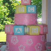 Baby Blocks This was a Baby Shower cake I made for my Sister. All buttercream frosting except for the borders and letters on blocks. The blocks are...