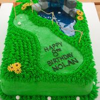Mini Golf Landscape All buttercream except for the boulders (which were fondant), the water and the golf balls and flowers (which were royal icing). This was...