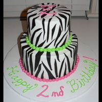 "Zebra Fun   6"" chocolate and 9"" white cake. Zebra stripes made with black tinted chocolate fondant."