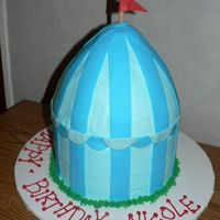 "Jojo's Circus Tent  8"" round white cake filling with pineapple. Dome made from wonder pan (doll dress). I stacked the two cakes and frosted it in..."