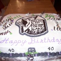 Over The Hill Cake I made 2 9X13 stoneware pan cakes and placed them side by side. I did a BCFT of the Grim reaper design I saw on this site. I learned that...