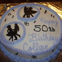 Another 50Th Cake A second party was for my sister for her square dancing friends. This was a FBCT but the black icing that I was using doesn't freeze...