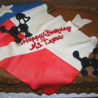 Texas Birthday Marble Cake with Chocolate buttercream. Flag was MMF and poodles were royal icing.