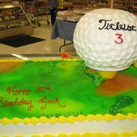 Golf Ball On Tee Golf ball on tee with full sheet cake underneath for 80th birthday. Thanks to schildwaster for all your help.