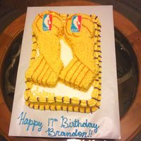 Nba Lakers Trophy Cake This was made for my nephew Sat night, its 2 9x13 lemon cakes with lemon buttercream.....it was tooo funny because the Lakers actually...