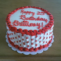 Birthday Cake For A Friend This is a strawberry an yellow checkered cake, with a basketweave design....