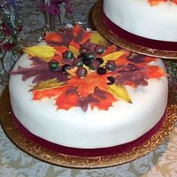 Fall Leaves Wedding Cake Closeup of lower tier with gumpaste/fondant fall leaves.