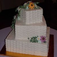 Back View Of Summer Wildflower Wedding Cake Back view of the first cake for which I've made gumpaste flowers. Front view is already in My Photos.
