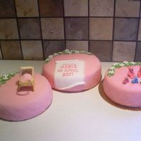 "Christening Cakes For Julia Christening cakes for a collegues grandchild Julia. The blocks spells ""Sötnos"" which means ""sweetey"". The..."