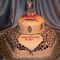 Leopard On A Cushion Birthday cake to a girl who loves leopards. She originally wanted a leopardSHAPED cake but accepted this somewhat disappointed... Its not...
