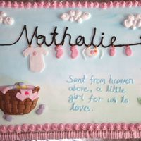 Celebration Cake For Baby Nathalie I adore 'clothes-line' cakes and finally got the chance to do one for my newborn. Fresh cream cake with fondant accents.