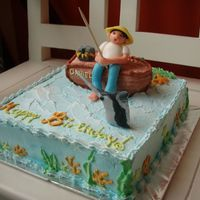 Man Fishing Birthday cake for a friend who loves fishing.