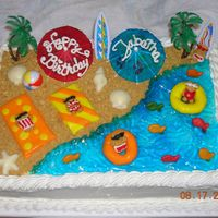 Beach Birthday Quarter-sheet yellow cake with buttercream frosting. Teddy Grahams with bathing suits/sunglasses piped on. Innertubes and towels out of MMF...