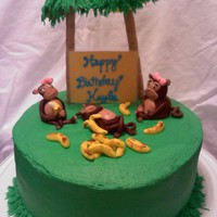 Monkey Cake MMF monkeys and bananas, trees made using Pirouette rolled wafers and mixed drink umbrellas