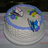 Butterfly Cake  Yellow cake with BC frosting, royal butterflies and flowers, basketweave border. I made this for my grandmother's/aunt's birthday...