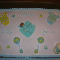 Baby Shower Cake This is a full sheet (whew!!) white cake with buttercream/pineapple mixture filling. The baby, onesies and rattles are MMF. Lollipop sticks...