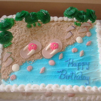 Beach Cake This is the cake that I made for my 3 grand-daughters birthday party