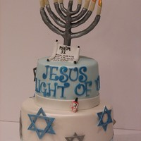 Chanukah Hanukkah/ Christmas Cake Done for a Christmas/Chanukah party~don't see this combo too often! The Mennorah is chocolate clay on a wire form I made. The cendles...