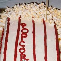 Popcorn I made this cake for my mom 60th b-day party, the theme was Hollywood Stars. The cake is red velvet with creamcheese, fresh popcorn. Idea...