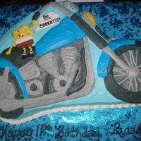 Spongebob Riding A Motorcycle My nephew requested a Spongebob riding a motorcycle for his birthday, what more could you ask from an 11 year old?