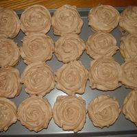 More Cupcakes! WASC cupcakes with chocolate IMBC icing. I sprinkled sugar on one of them but didn't care for the effect.