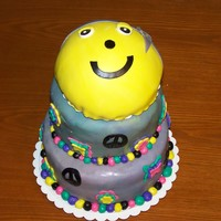 "Peace Birthday Cake   8"" WASC, 6"" chocolate, ball pan for smiley facebuttercream, mmf"