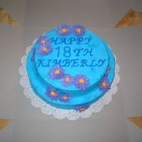 18Th Birthday I made this cake for a friend's daughter's 18th. She requested blue icing with purple flowers. The top layer was a white cake and...