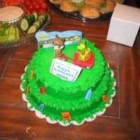 "Over The Hedge This was a cake I made for my nieces son's first birthday. Icing was BC, ""trash"" and sign was fondant. Topper was from a..."
