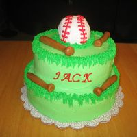 Baseball Themed Baby Shower Chocolate cake with buttercream icing. Bats are made out of fondant.