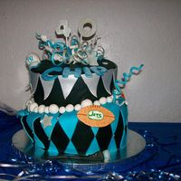 "Bday Madhatter My BIL 40th bday. 10/11"" and 8/9"" tiers stacked. fondant covered and gumpaste and fondant decorations."