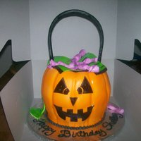 "Candy Bucket my friend wanted a candy bucket for her sister's birthday. 3 layer chocolate cake 7""8""7"" stacked and carved a little to..."